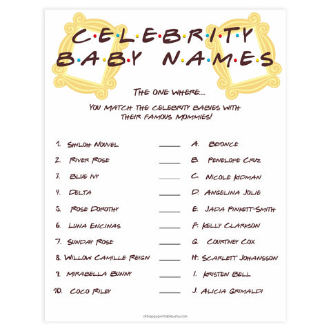 celebrity baby names game, Printable baby shower games, friends fun baby games, baby shower games, fun baby shower ideas, top baby shower ideas, friends baby shower, friends baby shower ideas