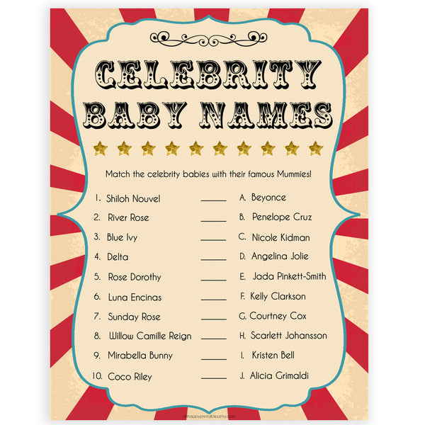Circus celebrity baby names shower games, circus baby games, carnival baby games, printable baby games, fun baby games, popular baby games, carnival baby shower, carnival theme