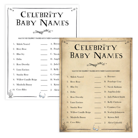 Celebrity Baby Names Baby Game, Wizard baby shower games, printable baby shower games, Harry Potter baby games, Harry Potter baby shower, fun baby shower games,  fun baby ideas