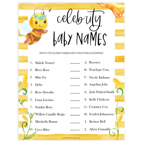 celebrity baby names game, Printable baby shower games, mommy bee fun baby games, baby shower games, fun baby shower ideas, top baby shower ideas, mommy to bee baby shower, friends baby shower ideas