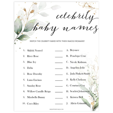 Gold green leaf baby games, celebrity baby names, printable baby games, fun baby games, top baby games to play, gold leaf baby shower, greenery baby shower ideas