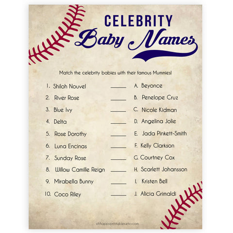 Baseball Celebrity Baby Names, Match Celebrity Babies, Famous Babies Game, Baby Shower Games, Guess the Celebrity Baby, Famous Baby, printable baby shower games, fun baby shower games, popular baby shower games