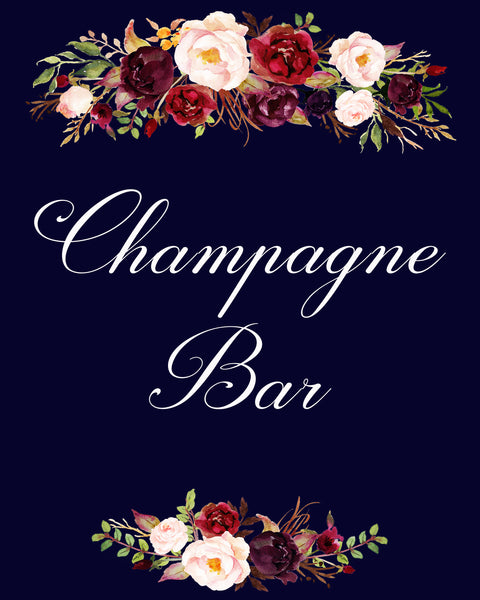 champagne bar burgundy marsala dark blue wedding sign