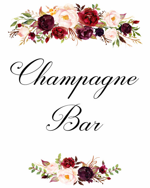 champagne bar burgundy marsala wedding sign