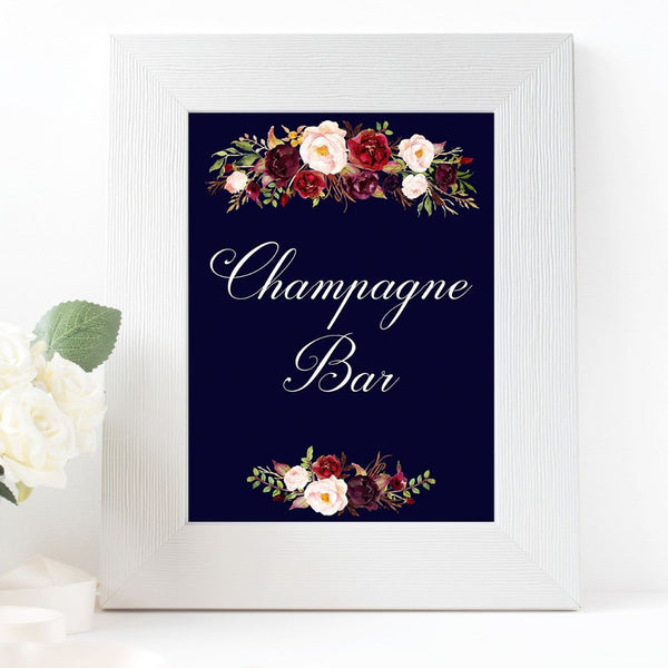 champagne bar burgundy marsala dark blue wedding sign printable