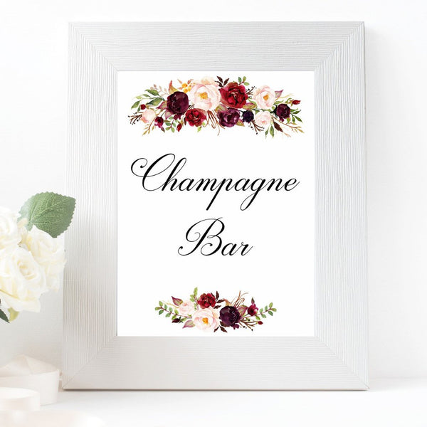 champagne bar burgundy marsala wedding sign printable