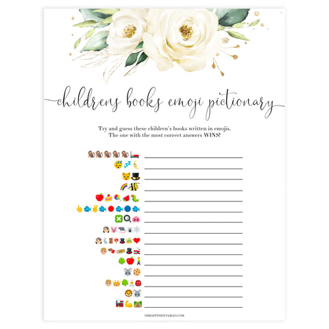 childrens books emoji pictionary game, Printable baby shower games, shite floral baby games, baby shower games, fun baby shower ideas, top baby shower ideas, floral baby shower, baby shower games, fun floral baby shower ideas