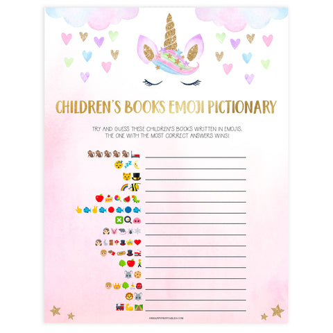 childrens books emoji pictionary game, Printable baby shower games, unicorn baby games, baby shower games, fun baby shower ideas, top baby shower ideas, unicorn baby shower, baby shower games, fun unicorn baby shower ideas