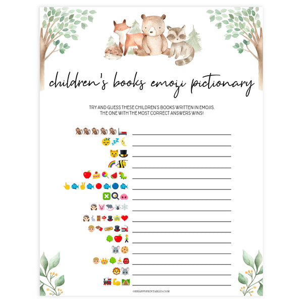 childrens books emoji pictionary games, Printable baby shower games, woodland animals baby games, baby shower games, fun baby shower ideas, top baby shower ideas, woodland baby shower, baby shower games, fun woodland animals baby shower ideas