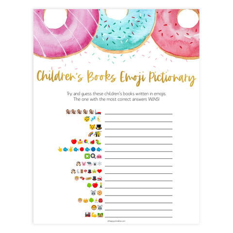 childrens books emoji pictionary game, Printable baby shower games, donut baby games, baby shower games, fun baby shower ideas, top baby shower ideas, donut sprinkles baby shower, baby shower games, fun donut baby shower ideas