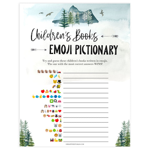 childrens books emoji Pictionary game, Printable baby shower games, adventure awaits baby games, baby shower games, fun baby shower ideas, top baby shower ideas, adventure awaits baby shower, baby shower games, fun adventure baby shower ideas
