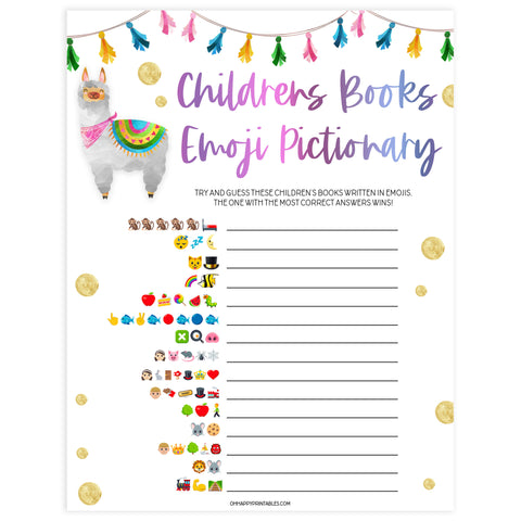 childrens books emoji pictionary, Printable baby shower games, llama fiesta fun baby games, baby shower games, fun baby shower ideas, top baby shower ideas, Llama fiesta shower baby shower, fiesta baby shower ideas