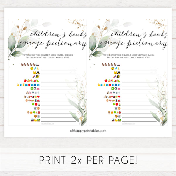 Gold green leaf baby games, childrens books emoji pictionary, printable baby games, fun baby games, top baby games to play, gold leaf baby shower, greenery baby shower ideas