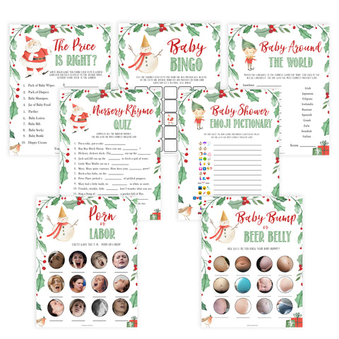 Christmas baby shower games, 7 baby shower games, festive baby shower games, best baby shower games, top 10 baby games, baby shower ideas, baby shower games