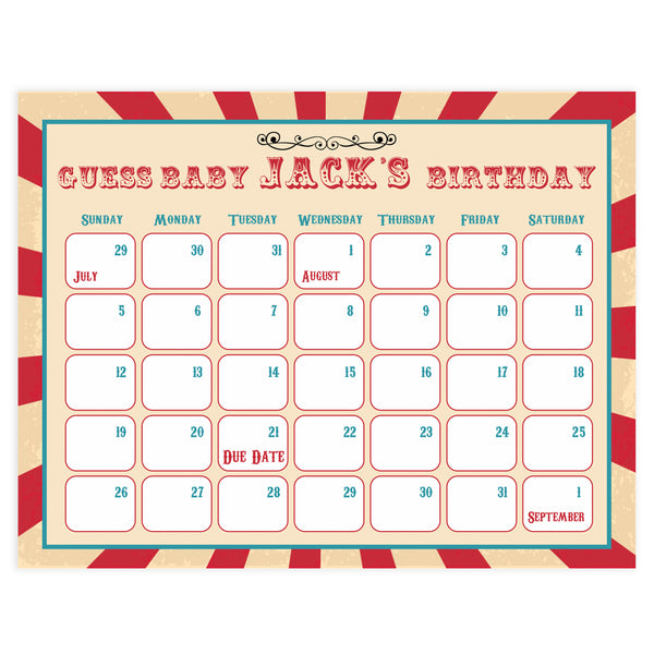 guess the baby birthday game, baby birthday predictions game, circus baby shower games, carnival fun baby shower games