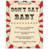 Circus dont say baby baby shower games, circus baby games, carnival baby games, printable baby games, fun baby games, popular baby games, carnival baby shower, carnival theme