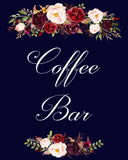 Coffee Bar Marsala Dark Blue sign