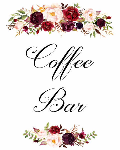 coffee bar burgundy marsala wedding sign