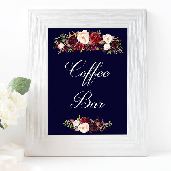 Coffee Bar Marsala Dark Blue sign printable