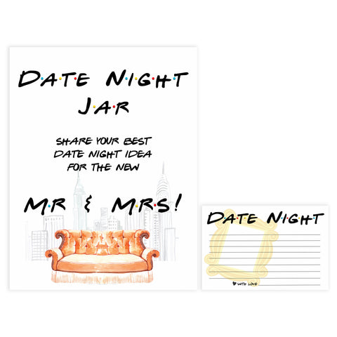date night jar game, Printable bridal shower games, friends bridal shower, friends bridal shower games, fun bridal shower games, bridal shower game ideas, friends bridal shower