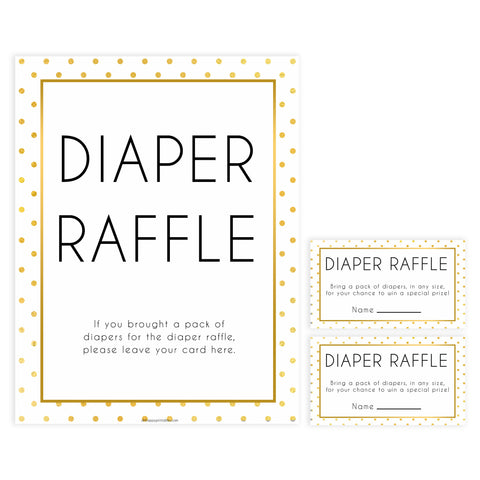 diaper raffle game, diaper raffle, Printable baby shower games, baby gold dots fun baby games, baby shower games, fun baby shower ideas, top baby shower ideas, gold glitter shower baby shower, friends baby shower ideas