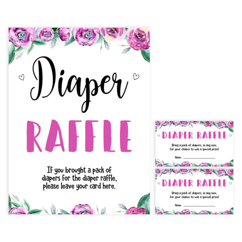 diaper raffle baby shower game, printable baby shower games, purple peonies baby games, fun baby shower games