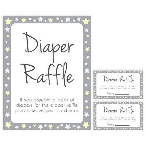 grey & yellow stars, diaper raffle, printable baby shower games, fun baby games, top baby shower games, star baby games, little star baby shower