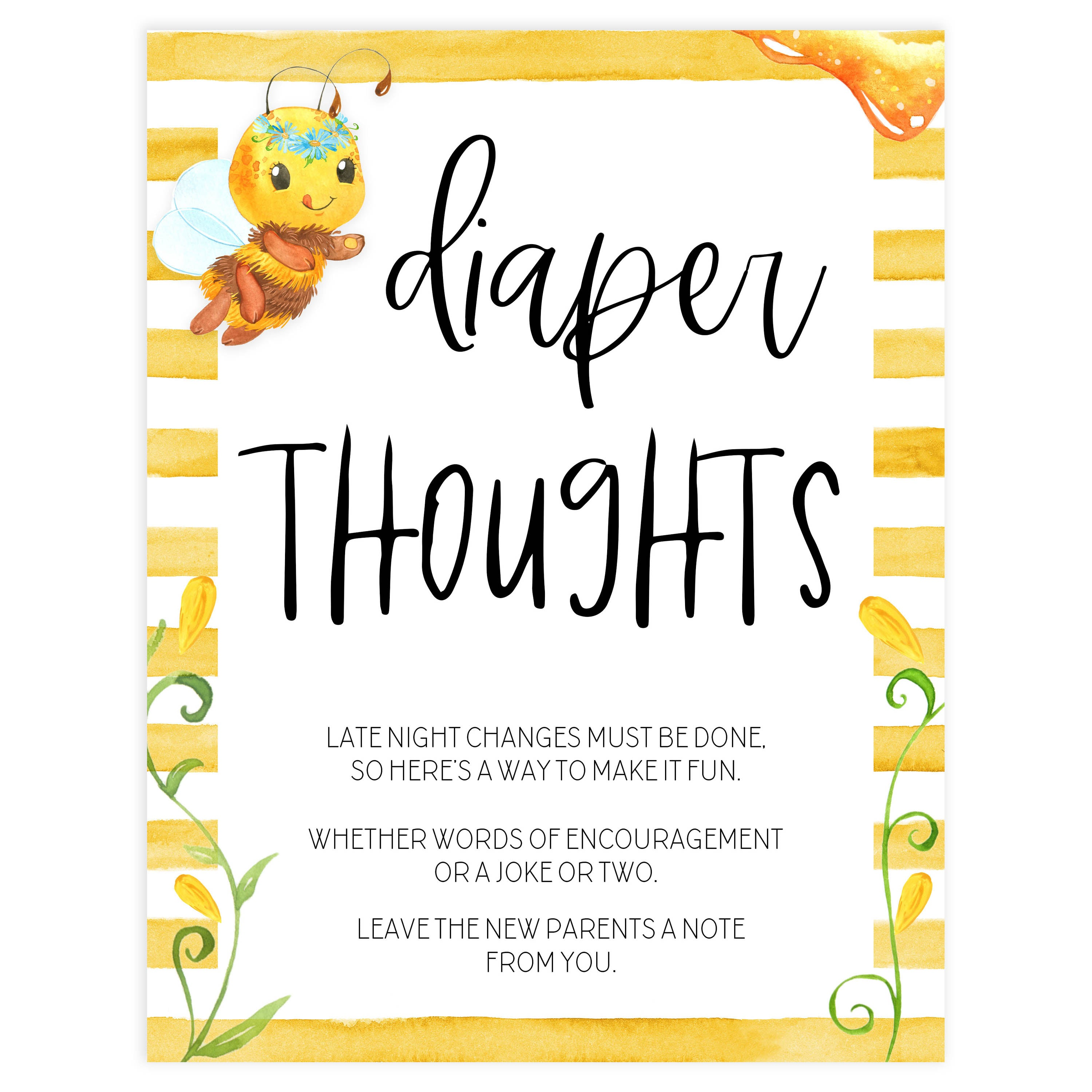 Bee /'Baby Bee/' Theme *Printable Baby Shower Late Night Diaper Sign* Diaper Deep Thoughts  Diaper Message Game  INSTANT DOWNLOAD