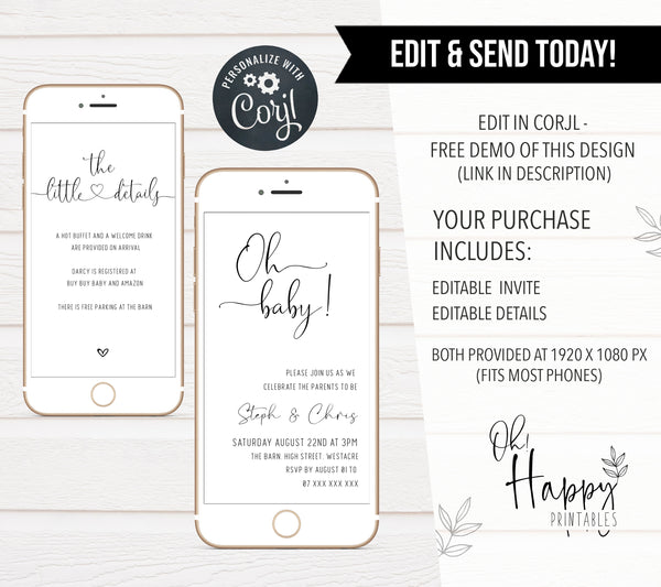 Editable Oh Baby Shower Mobile Invitation - Minimalist