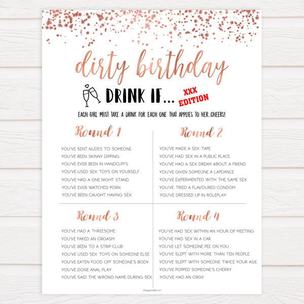 rose gold naughty drink if games, dirty birthday games, adult birthday games, drink if game, fun birthday games