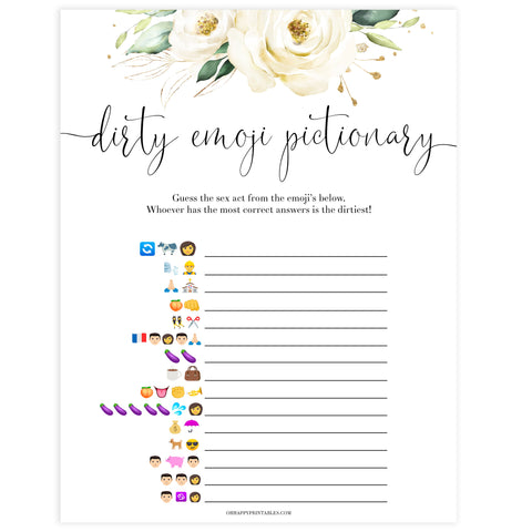 dirty emoji pictionary game, Printable bachelorette games, floral bachelorette, floral hen party games, fun hen party games, bachelorette game ideas, floral adult party games, naughty hen games, naughty bachelorette games