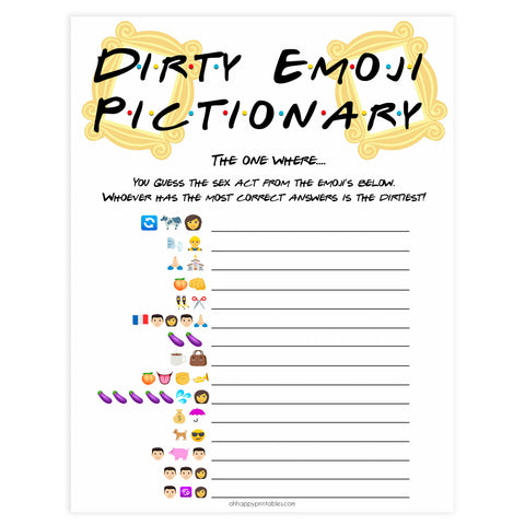 dirty emoji pictionary game, Printable bachelorette games, friends bachelorette, friends hen party games, fun hen party games, bachelorette game ideas, friends adult party games, naughty hen games, naughty bachelorette games