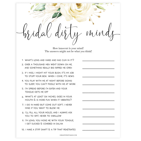 dirty minds game, Printable bachelorette games, floral bachelorette, floral hen party games, fun hen party games, bachelorette game ideas, floral adult party games, naughty hen games, naughty bachelorette games