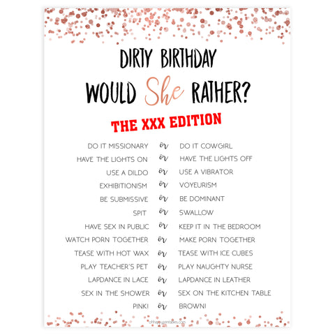 dirty would she rather game, printable birthday games, adult birthday games, adult would she rather, rose gold birthday games
