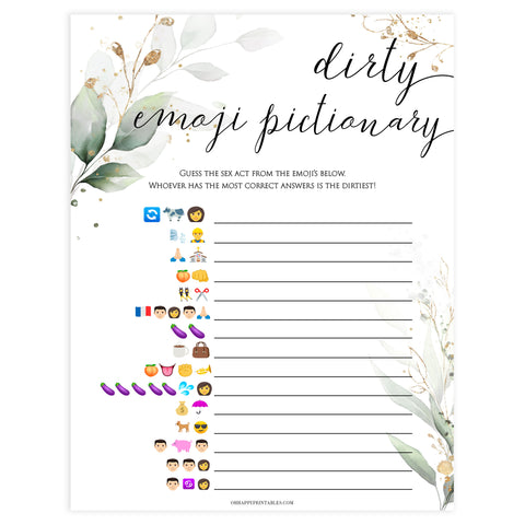 dirty emoji pictionary game, Printable bachelorette games, greenery bachelorette, gold leaf hen party games, fun hen party games, bachelorette game ideas, greenery adult party games, naughty hen games, naughty bachelorette games