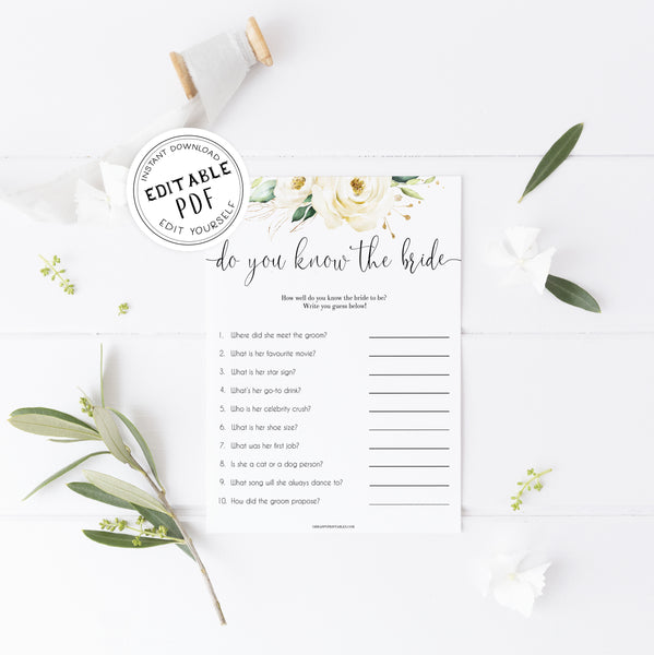 do you know the bride game, editable bridal shower games, Printable bridal shower games, floral bridal shower, floral bridal shower games, fun bridal shower games, bridal shower game ideas, floral bridal shower