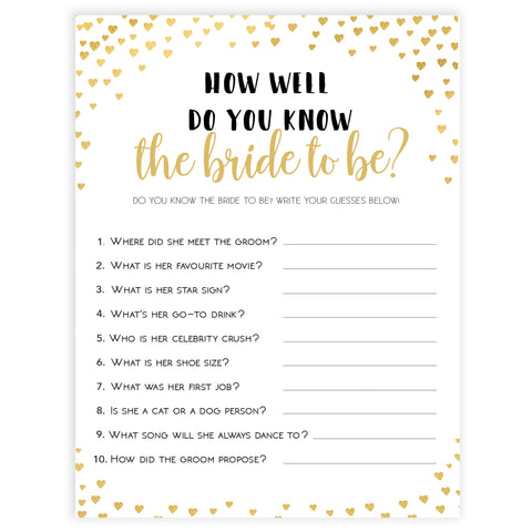 Gold hearts bridal shower games, do you know the bride, printable bridal games, gold bridal games, gold hearts bridal games, fun bridal games, top bridal games, best bridal games
