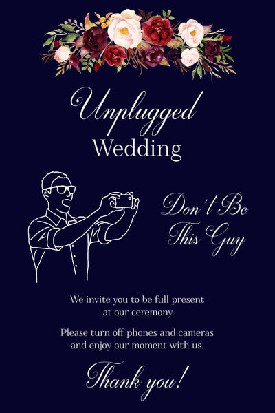 Don't Be This Guy Wedding Unplugged Sign Printable