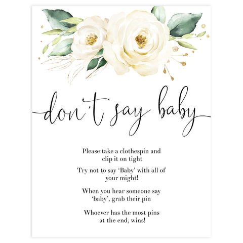 dont say baby game, Printable baby shower games, shite floral baby games, baby shower games, fun baby shower ideas, top baby shower ideas, floral baby shower, baby shower games, fun floral baby shower ideas