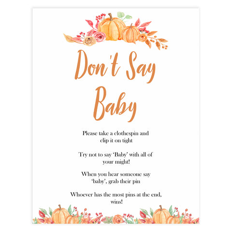 Fall pumpkin baby games, dont say baby, Don't say baby, printable baby games, fall baby shower, pumpkin baby shower, autumnal baby games, top 10 baby games, best baby games