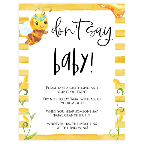 dont say baby game, dont so baby, Printable baby shower games, mommy bee fun baby games, baby shower games, fun baby shower ideas, top baby shower ideas, mommy to bee baby shower, friends baby shower ideas