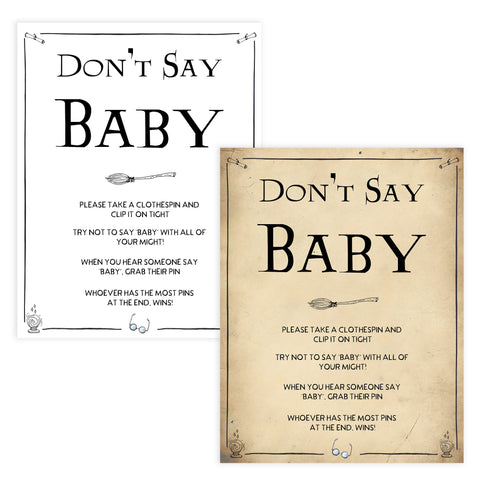 dont't say baby game Wizard baby shower games, printable baby shower games, Harry Potter baby games, Harry Potter baby shower, fun baby shower games,  fun baby ideas
