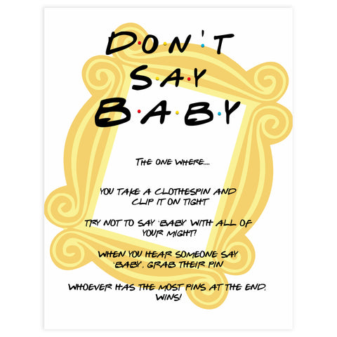 don't say baby game, Printable baby shower games, friends fun baby games, baby shower games, fun baby shower ideas, top baby shower ideas, friends baby shower, friends baby shower ideas