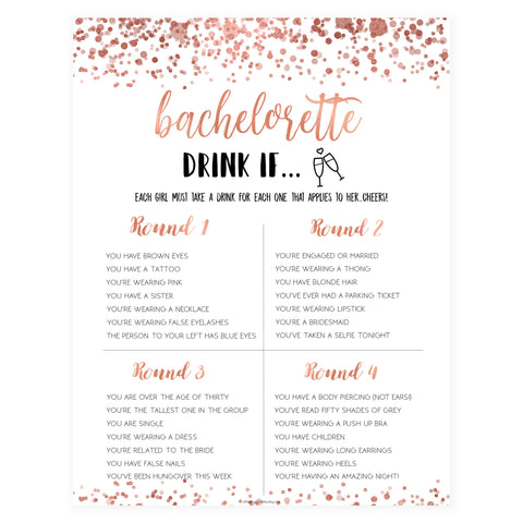Bachelorette Drink If Game - Rose Gold Foil