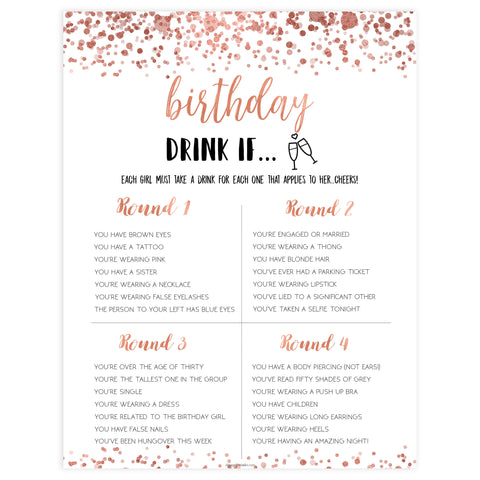 birthday drink if game, printable birthday games, adult birthday games, drink if game, rose gold drink if game