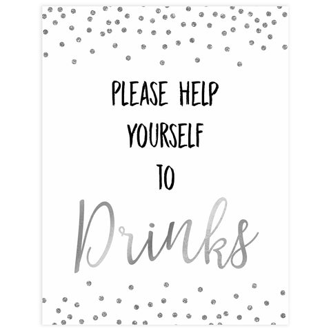 drinks baby table signs, drinks sign, Baby silver glitter baby decor, printable baby table signs, printable baby decor, baby silver glitter table signs, fun baby signs, baby silver fun baby table signs