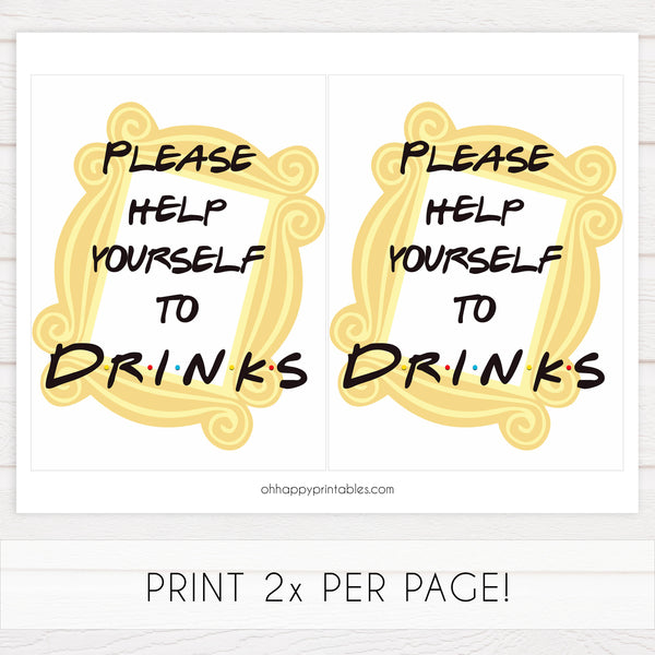 drinks baby table signs, Friends baby decor, printable baby table signs, printable baby decor, friends table signs, fun baby signs, friends fun baby table signs