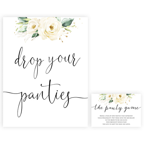 drop your panties game, Printable bridal shower games, floral bridal shower, floral bridal shower games, fun bridal shower games, bridal shower game ideas, floral bridal shower