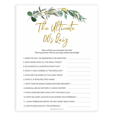 Floral bachelorette games, ultimate 00s quiz game, top hen party games, fun bridal games, hen party games, printable bridal games, bridal shower ideas, eucalyptus bridal ideas, bachelorette ideas