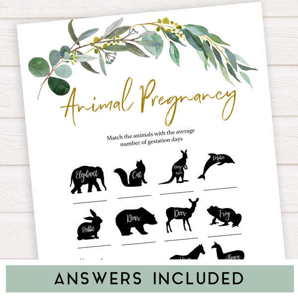 Eucalyptus baby shower games, animal pregnancy baby game, fun baby shower games, printable baby games, baby shower ideas, baby games, baby shower baby shower bundle, baby shower games packs, botanical baby shower